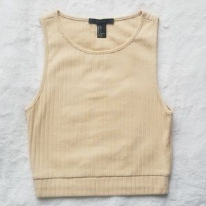 Nude/cream ribbed crop tank top